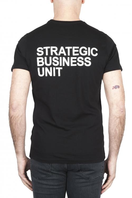 SBU 01794_19AW T-shirt noir à col rond imprimé à la main 01