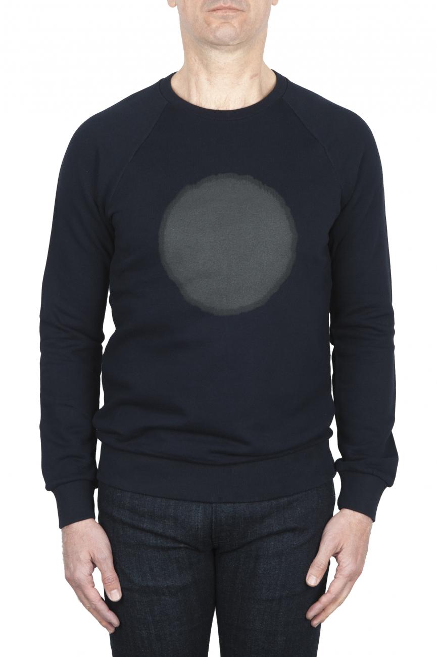 SBU 01795_19AW Hand printed crewneck navy blue sweatshirt 01