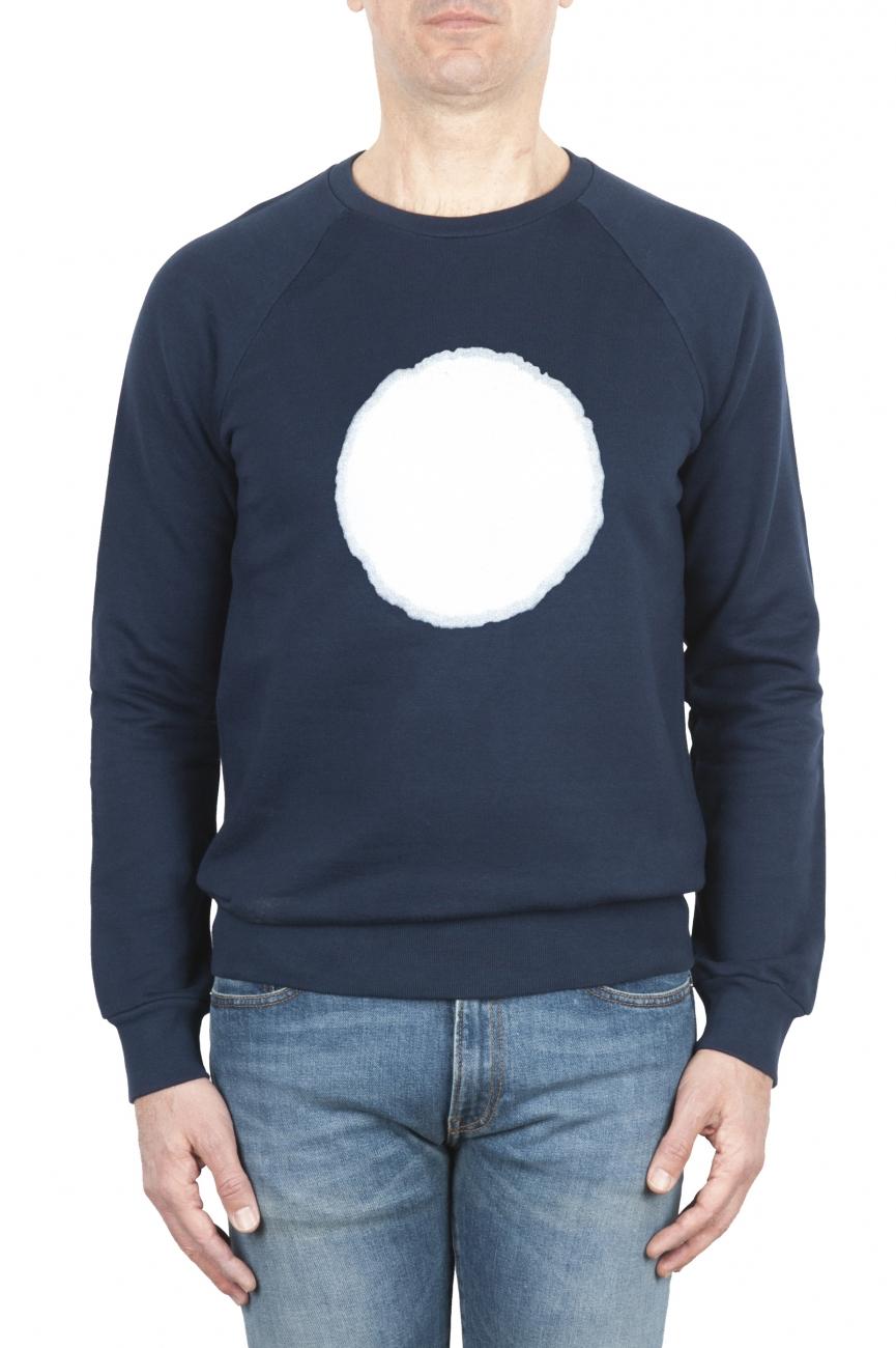SBU 01796_19AW Hand printed crewneck blue sweatshirt 01