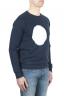 SBU 01796_19AW Hand printed crewneck blue sweatshirt 02