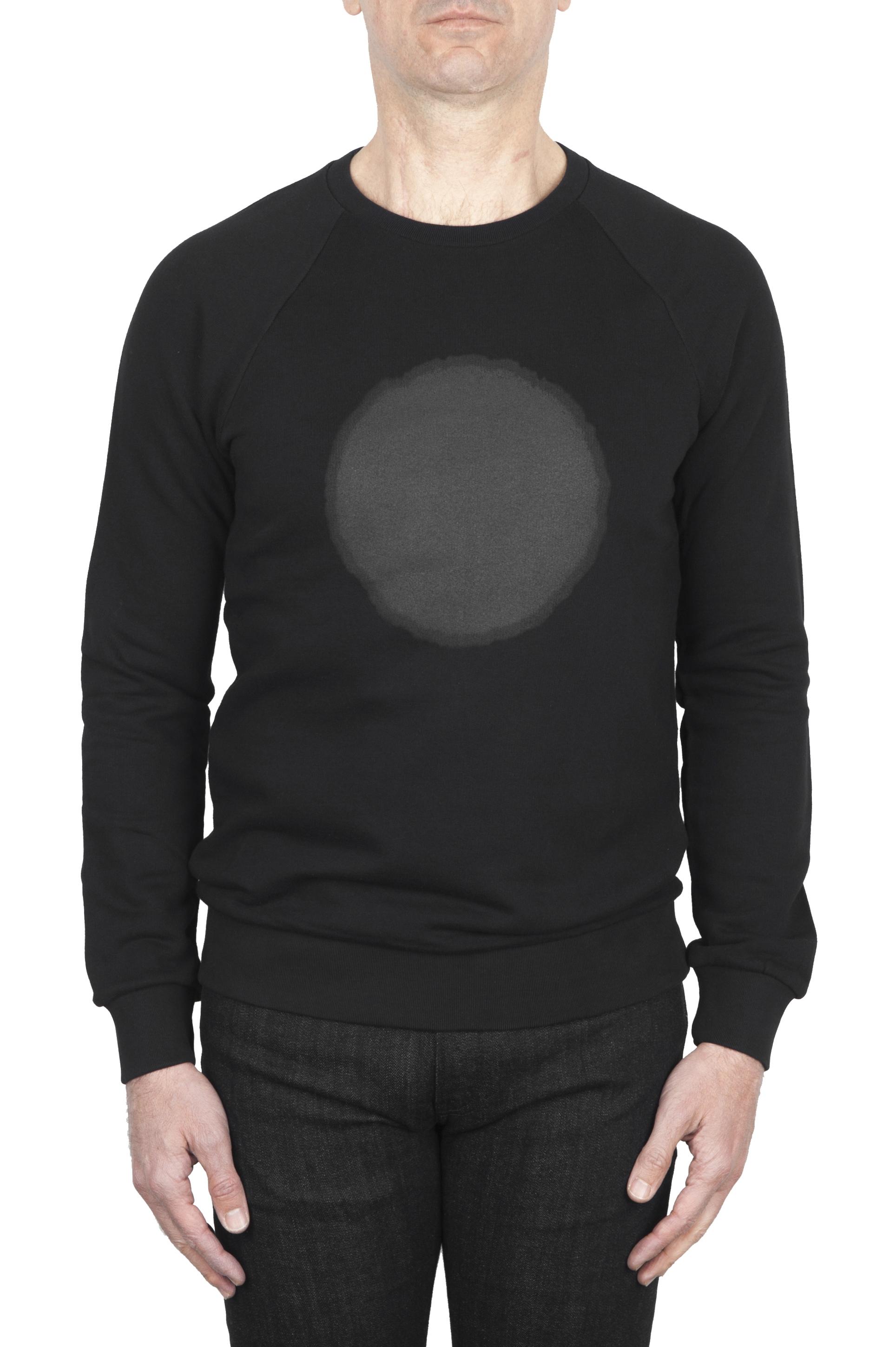 SBU 01797_19AW Hand printed crewneck black sweatshirt 01