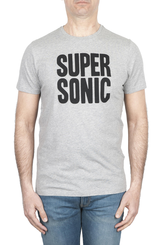 SBU 01798_19AW T-shirt mélangé gris à col rond imprimé à la main 01