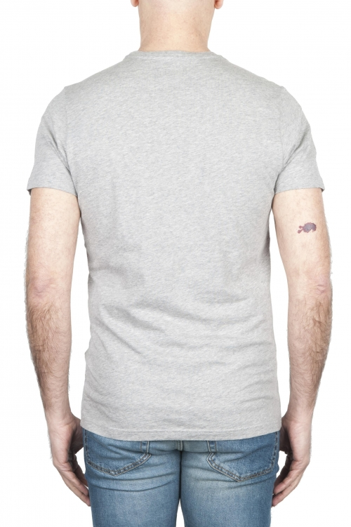 SBU 01798_19AW Round neck mélange grey t-shirt printed by hand 01
