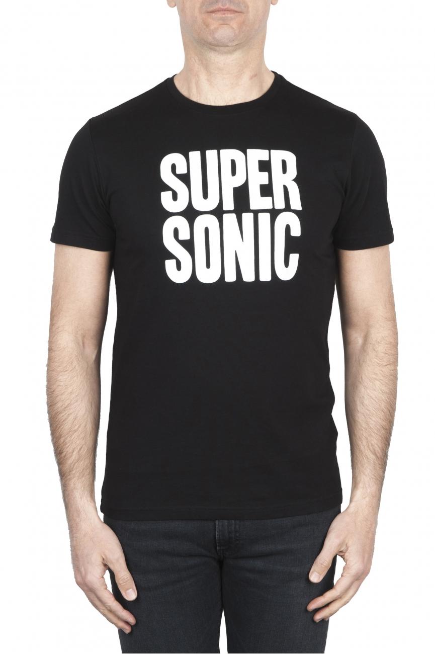 SBU 01799_19AW T-shirt girocollo nera stampata a mano 01