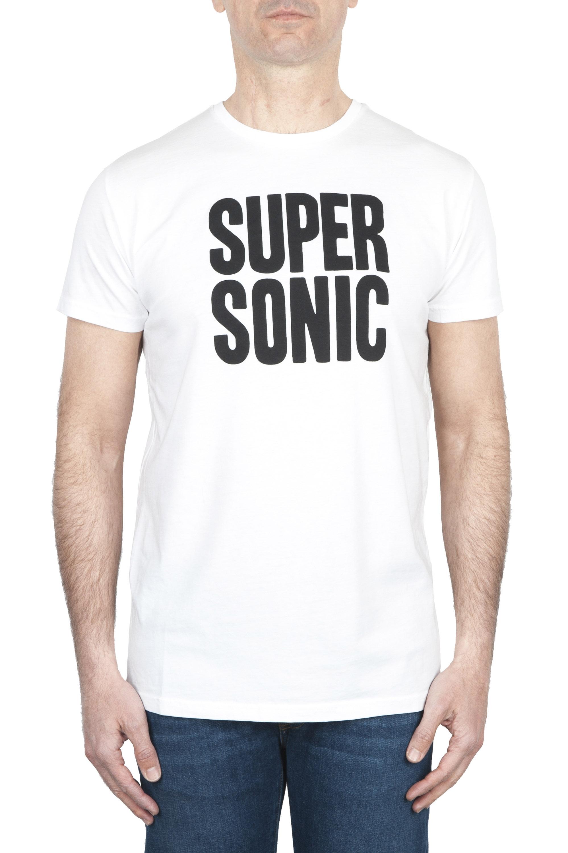 SBU 01800_19AW Round neck white t-shirt printed by hand 01