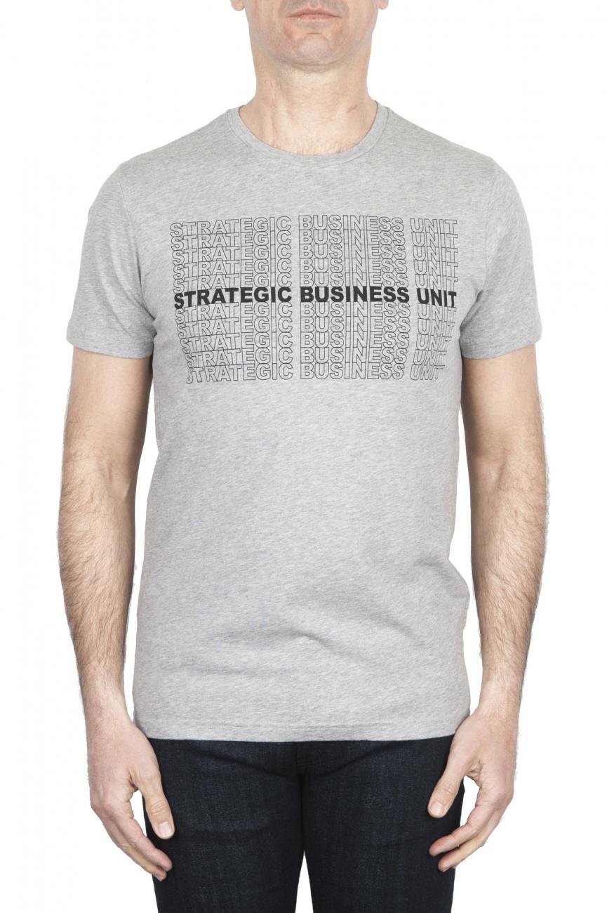 SBU 01801_19AW 手でプリントされたラウンドネックのメランジュグレーのTシャツ 01
