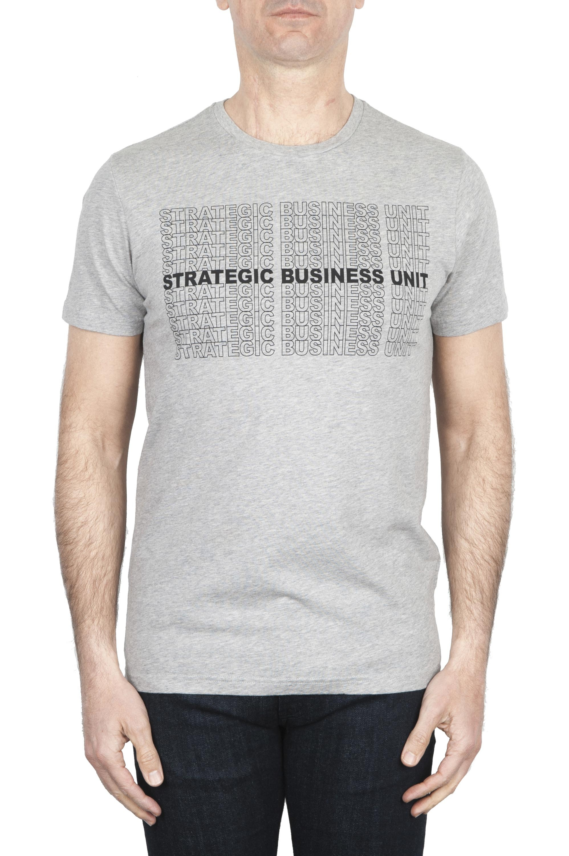 SBU 01801_19AW Round neck mélange grey t-shirt printed by hand 01