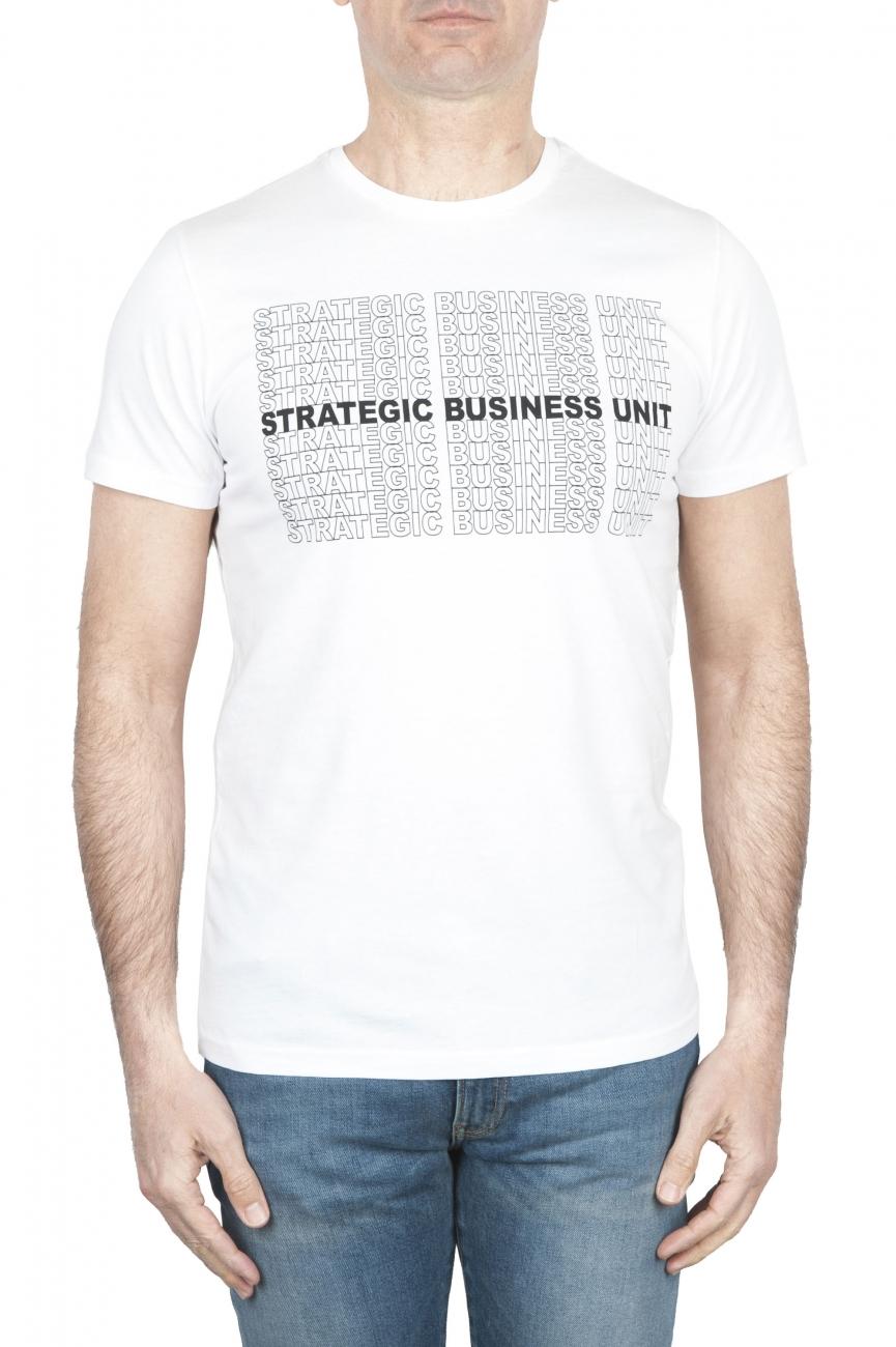SBU 01803_19AW Camiseta blanca de cuello redondo estampado a mano 01