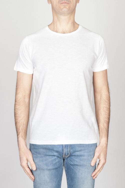 T-Shirt Girocollo Aperto A Maniche Corte In Cotone Fiammato Bianco