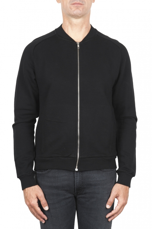SBU 01463_19AW Black cotton jersey bomber sweatshirt 01