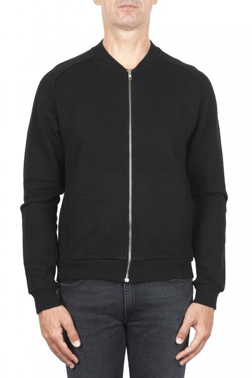 SBU 01463_19AW Sweat-shirt bombardier en jersey de coton noir 01