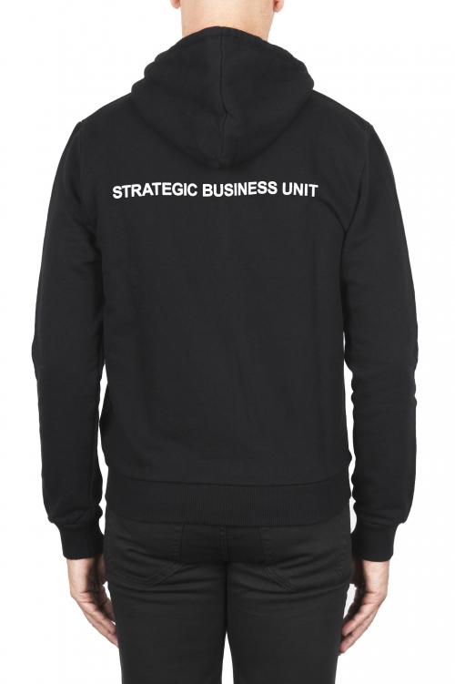 SBU 01465_19AW Black cotton jersey hooded sweatshirt 01