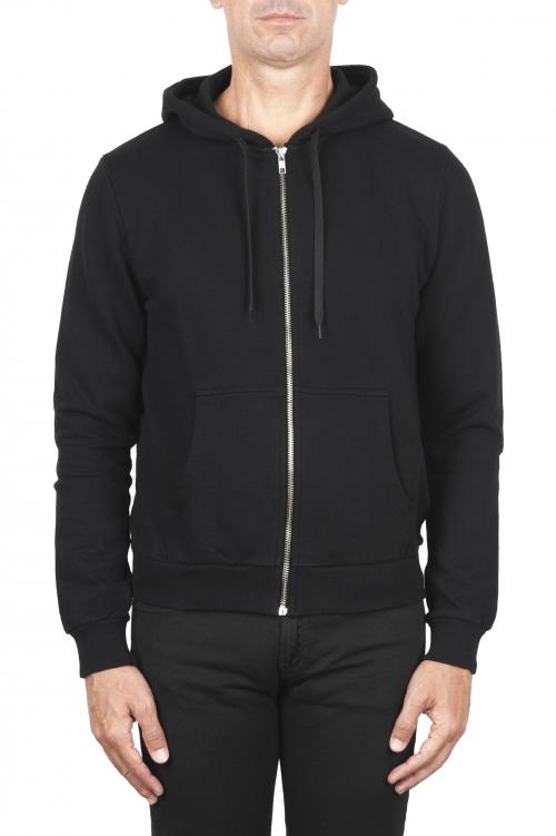 SBU 01465_19AW Felpa con cappuccio in jersey di cotone nera 01