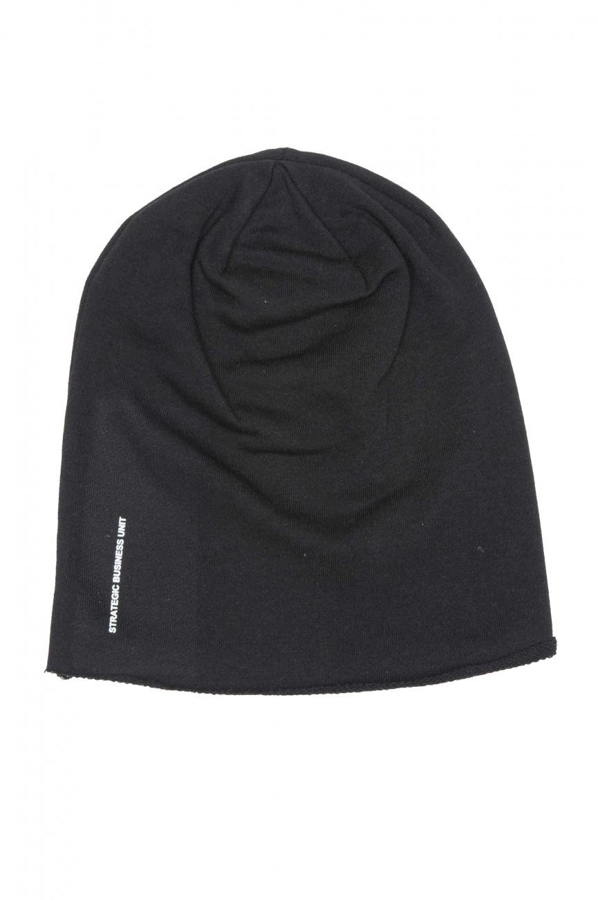 SBU 01192_19AW Bonnet en laine classique de coupe en pointe noir 01
