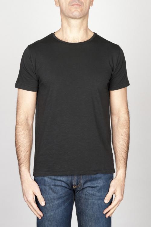 T-Shirt Girocollo Aperto A Maniche Corte In Cotone Fiammato Nero