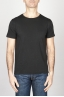Classic Short Sleeve Flamed Cotton Scoop Neck T-Shirt Black