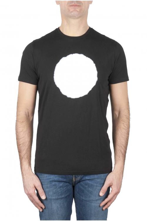 SBU 01166_19AW Clásica camiseta de cuello redondo manga corta de algodón blanca y negra gráfica impresa 01