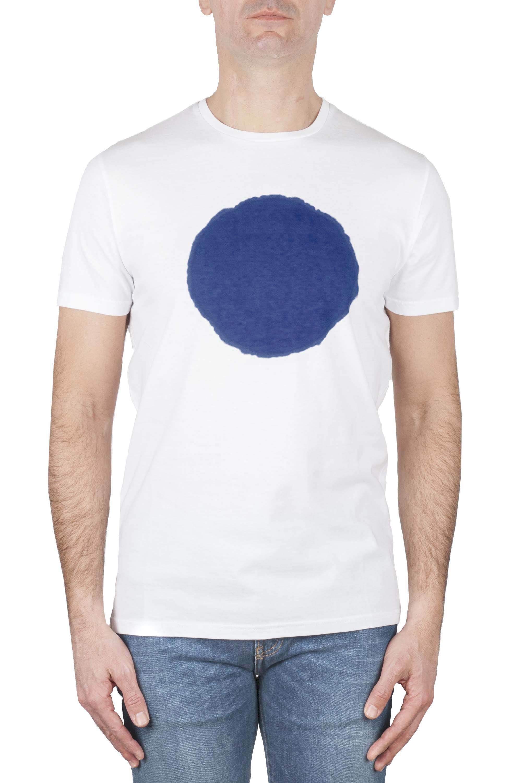 SBU 01167_19AW T-shirt girocollo classica a maniche corte in cotone grafica stampata blu e bianca 01