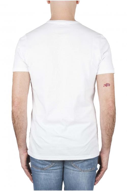 SBU 01167_19AW Shirt classique bleu et blanche col rond manches courtes en coton graphique imprimé 01