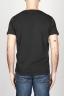 SBU - Strategic Business Unit - T-Shirt Girocollo Aperto A Maniche Corte In Cotone Fiammato Nero
