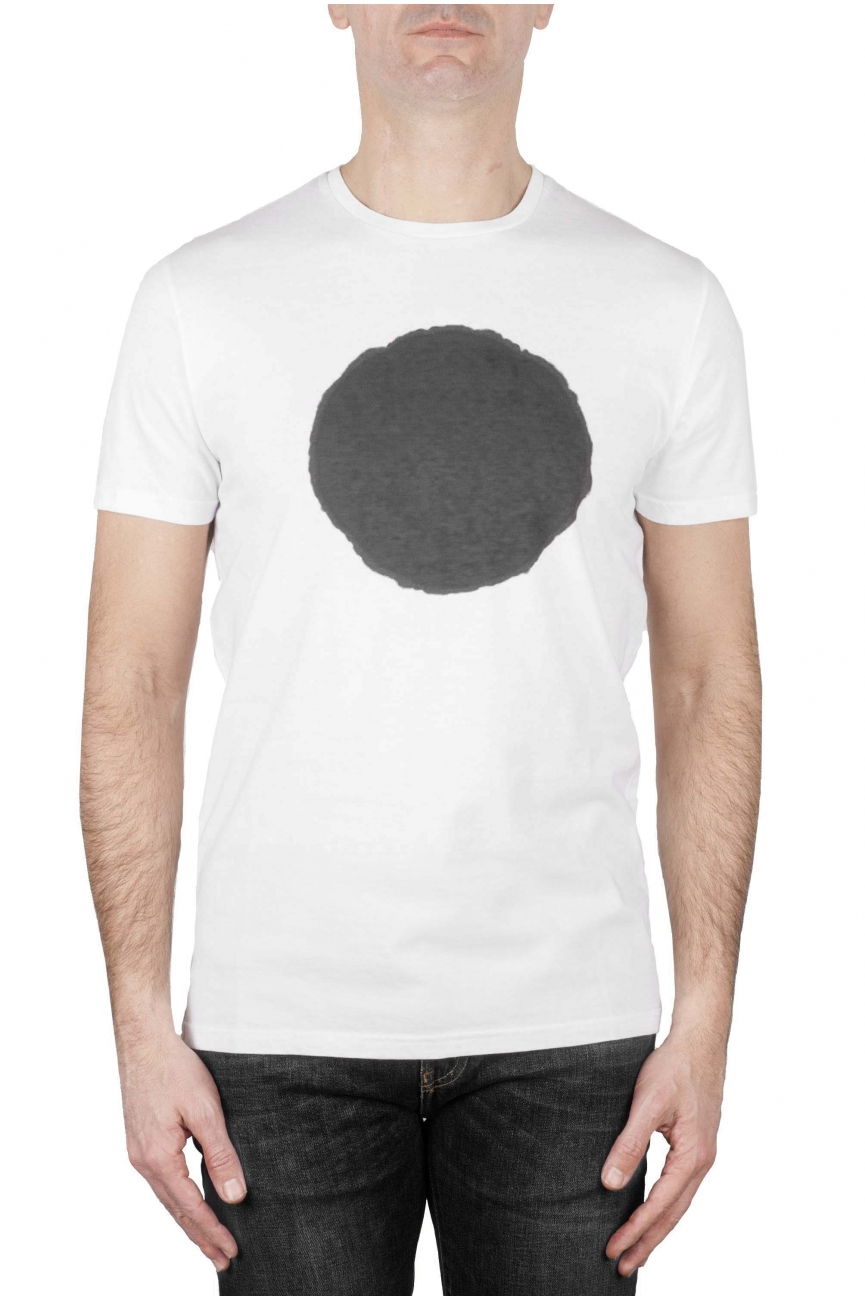 SBU 01168_19AW Shirt classique gris et blanche col rond manches courtes en coton graphique imprimé 01