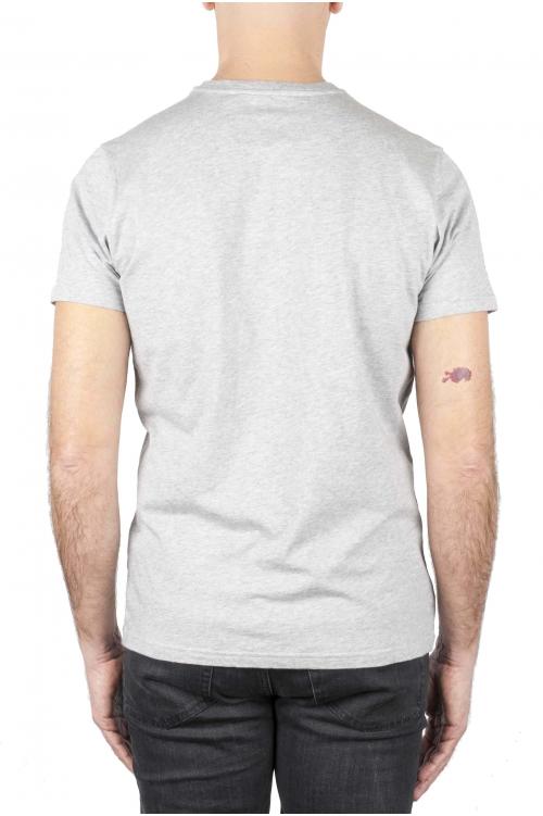 SBU 01169_19AW Shirt classique noir et gris col rond manches courtes en coton graphique imprimé 01