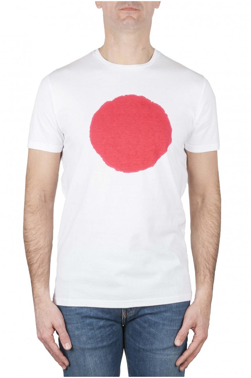 SBU 01170_19AW 赤と白のプリントされたグラフィックの古典的な半袖綿ラウンドネックtシャツ 01