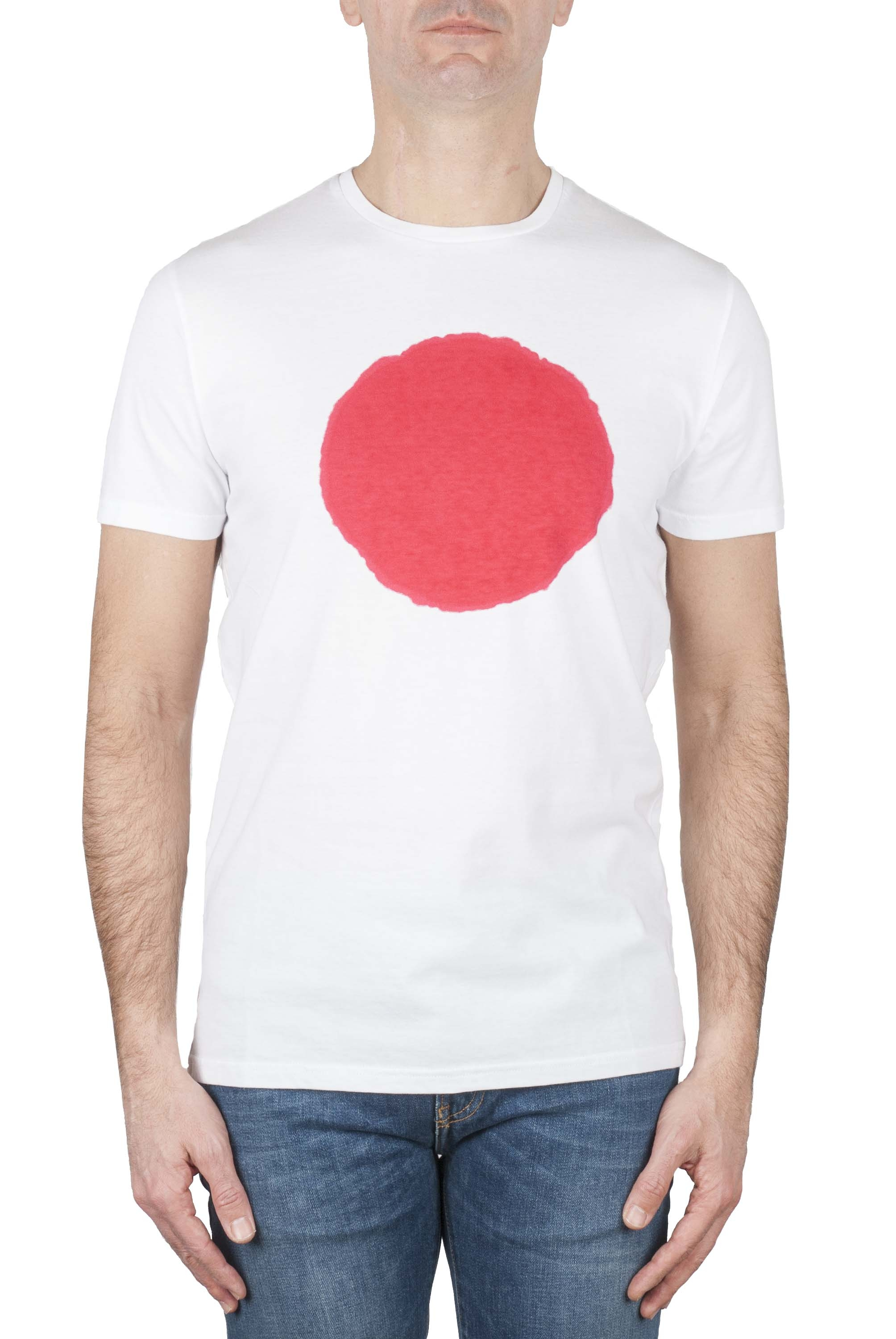 SBU 01170_19AW Classic short sleeve cotton round neck t-shirt red and white printed graphic 01