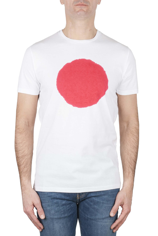 SBU 01170_19AW Shirt classique rouge et blanche col rond manches courtes en coton graphique imprimé 01
