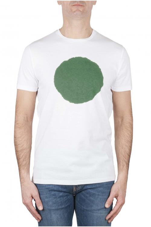 SBU 01920_19AW Shirt classique vert et blanche col rond manches courtes en coton graphique imprimé 01
