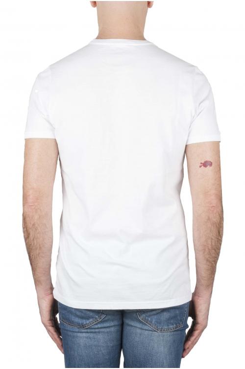SBU 01920_19AW Clásica camiseta de cuello redondo manga corta de algodón verde y blanca gráfica impresa 01