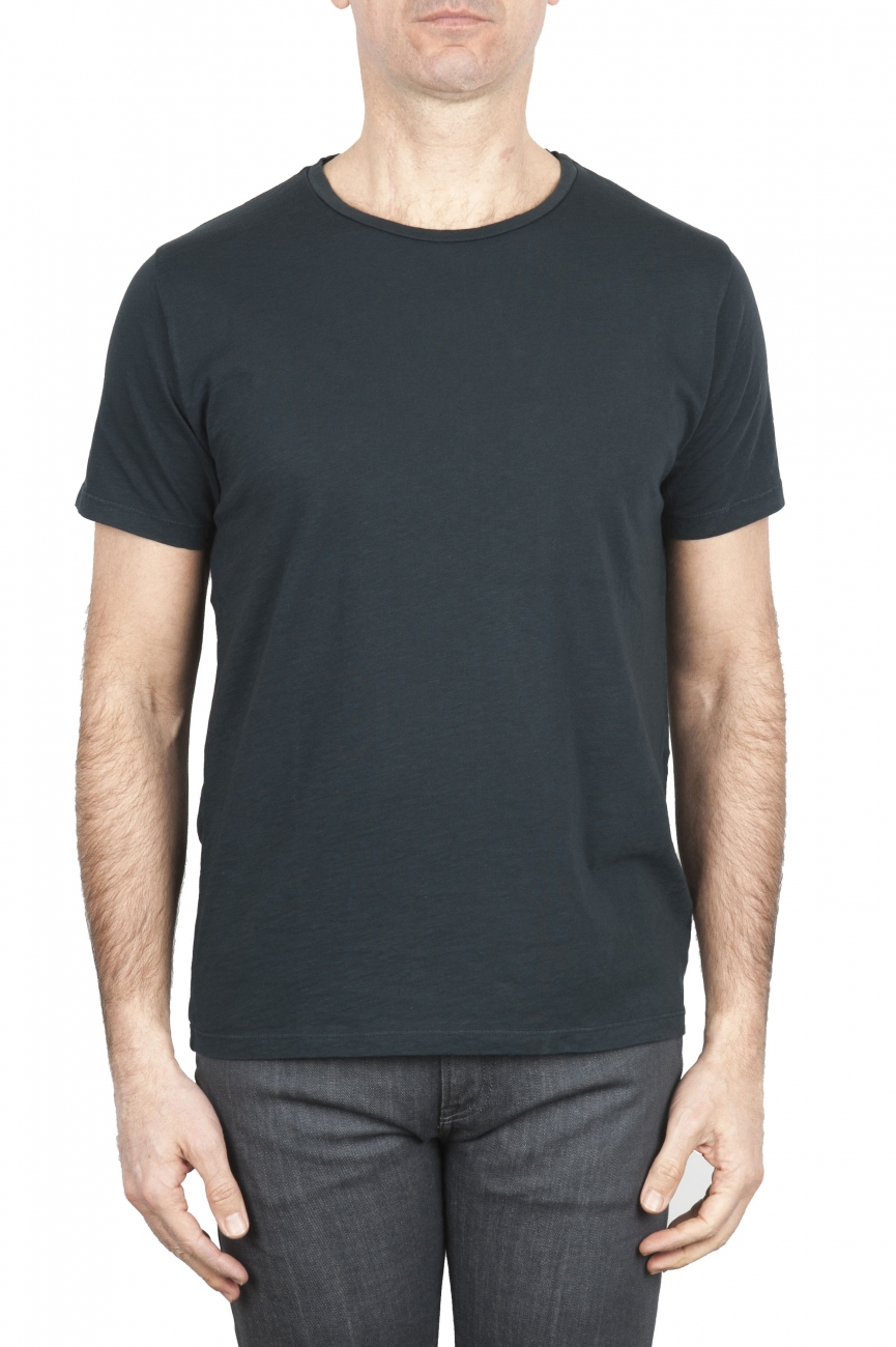 SBU 01636_19AW Flamed cotton scoop neck t-shirt anthracite 01