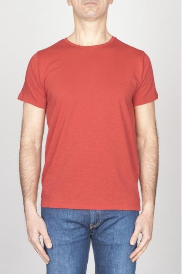 SBU - Strategic Business Unit - T-Shirt Girocollo Aperto A Maniche Corte In Cotone Fiammato Rosso