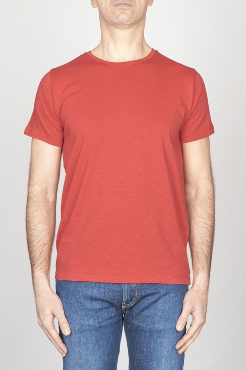 T-Shirt Girocollo Aperto A Maniche Corte In Cotone Fiammato Rosso