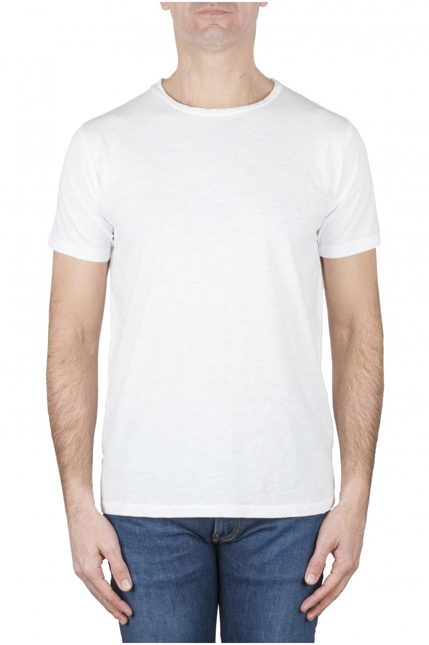 SBU 01637_19AW T-shirt à col rond en coton flammé blanc 01