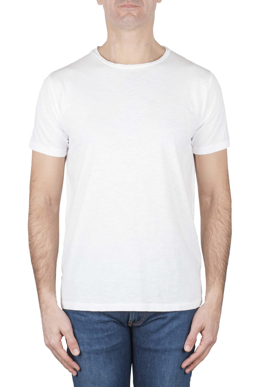 SBU 01637_19AW T-shirt girocollo aperto in cotone fiammato bianca 01