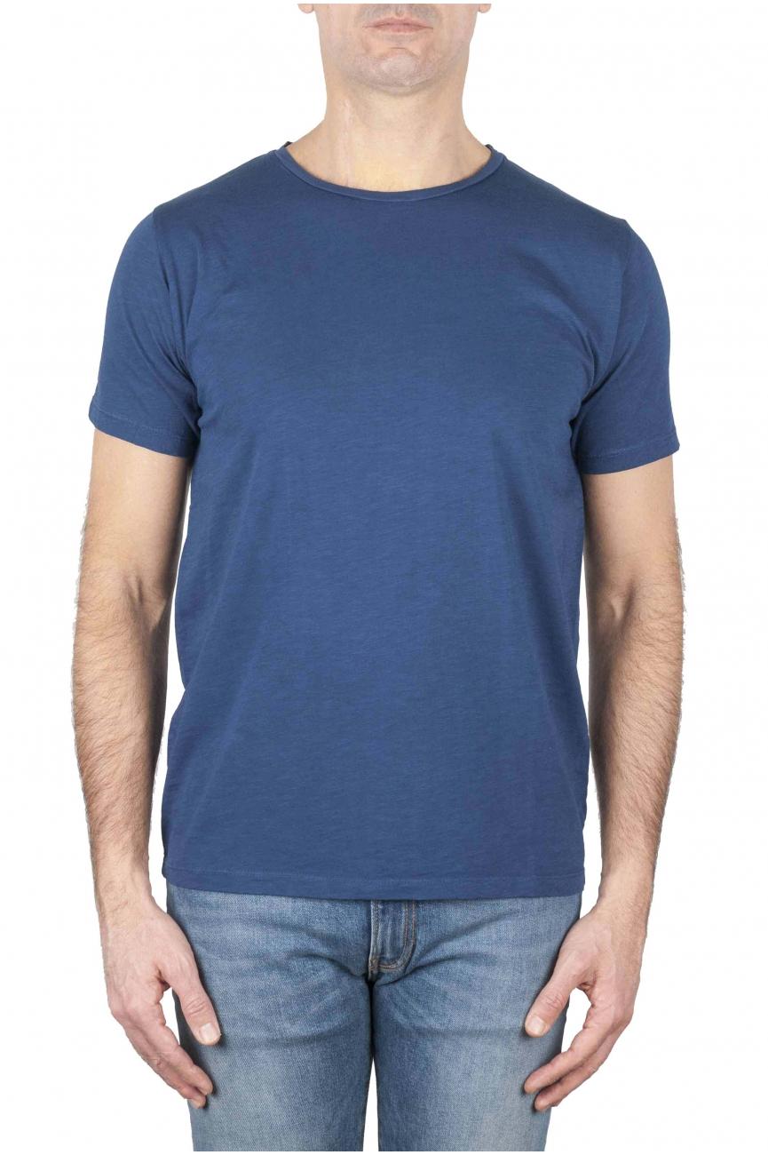 SBU 01638_19AW T-shirt girocollo aperto in cotone fiammato blu 01