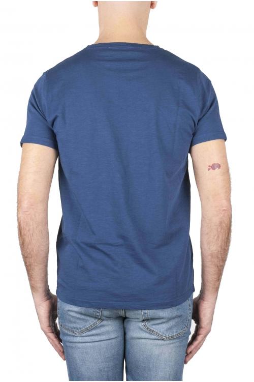 SBU 01638_19AW Camiseta de algodón con cuello redondo en color azul 01