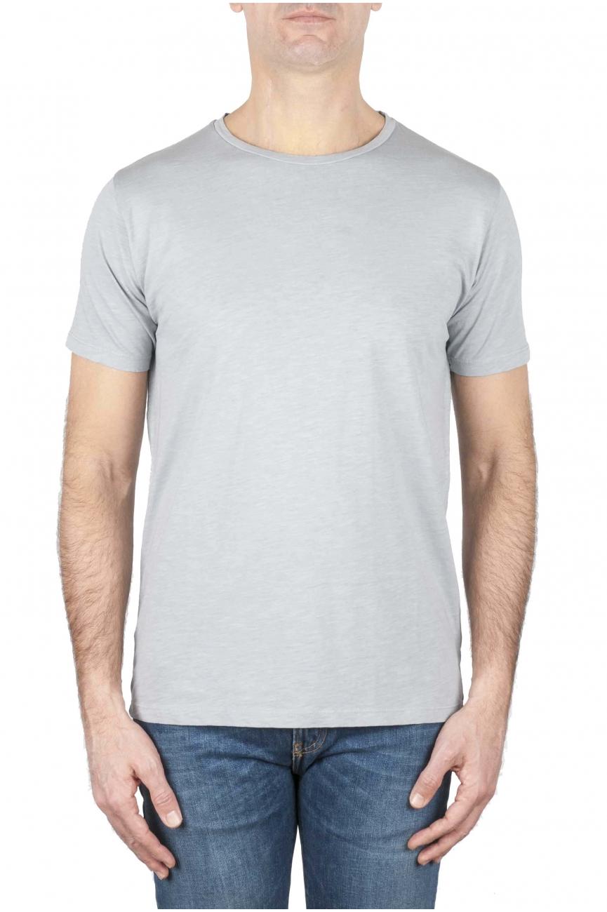 SBU 01639_19AW T-shirt girocollo aperto in cotone fiammato grigio perla 01