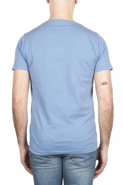 SBU 01642_19AW Camiseta de algodón con cuello redondo en color azul claro 01