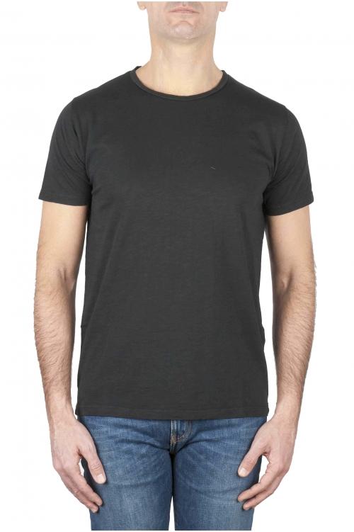 SBU 01644_19AW T-shirt à col rond en coton flammé noir 01