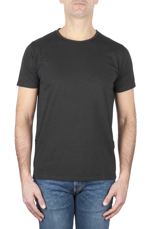 SBU 01644_19AW T-shirt girocollo aperto in cotone fiammato nera 01