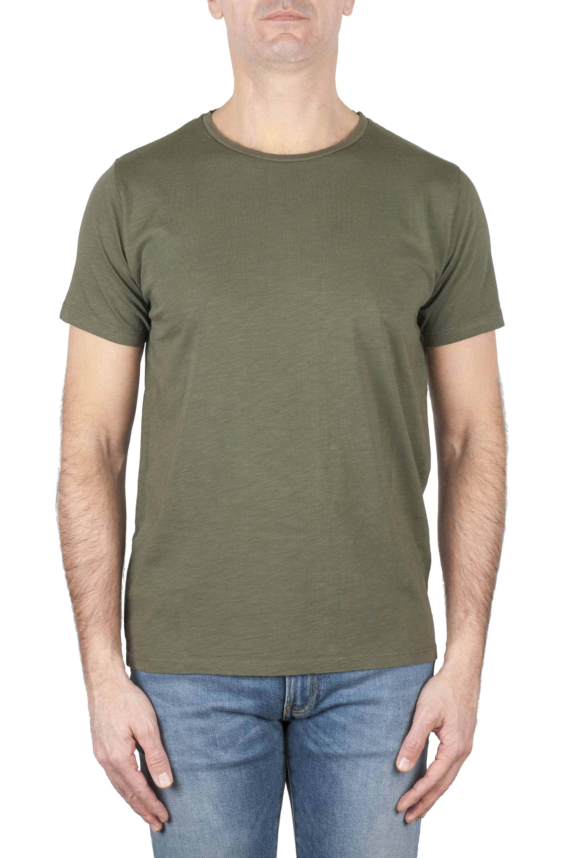 SBU 01645_19AW Camiseta de algodón con cuello redondo en color verde 01