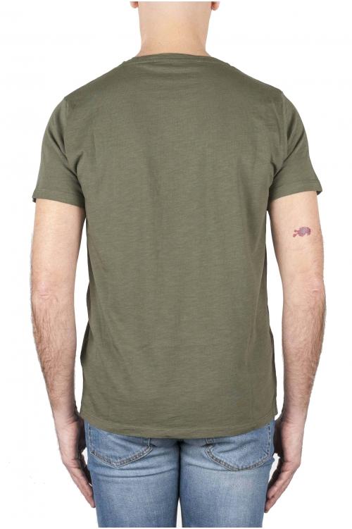 SBU 01645_19AW T-shirt girocollo aperto in cotone fiammato verde 01