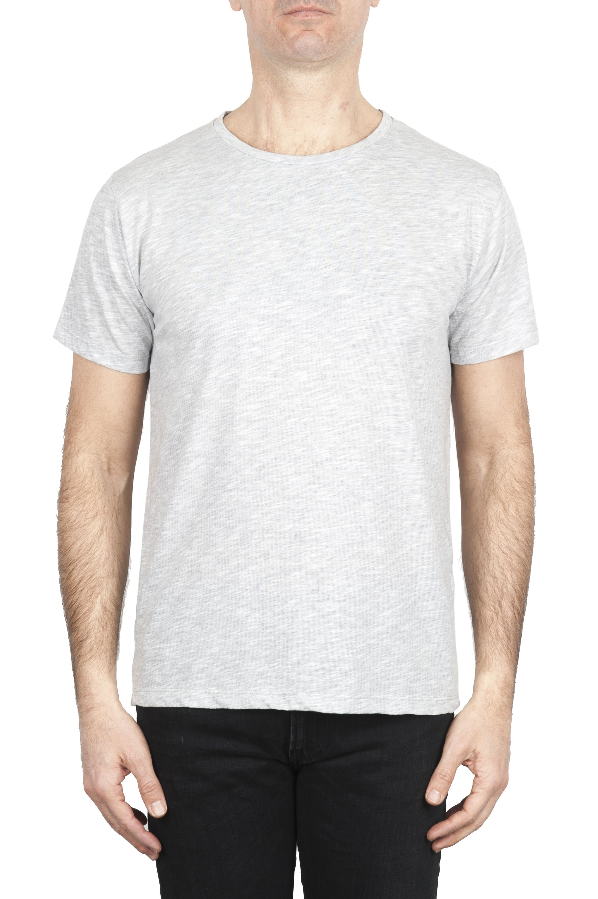 SBU 01646_19AW Flamed cotton scoop neck t-shirt melange grey 01