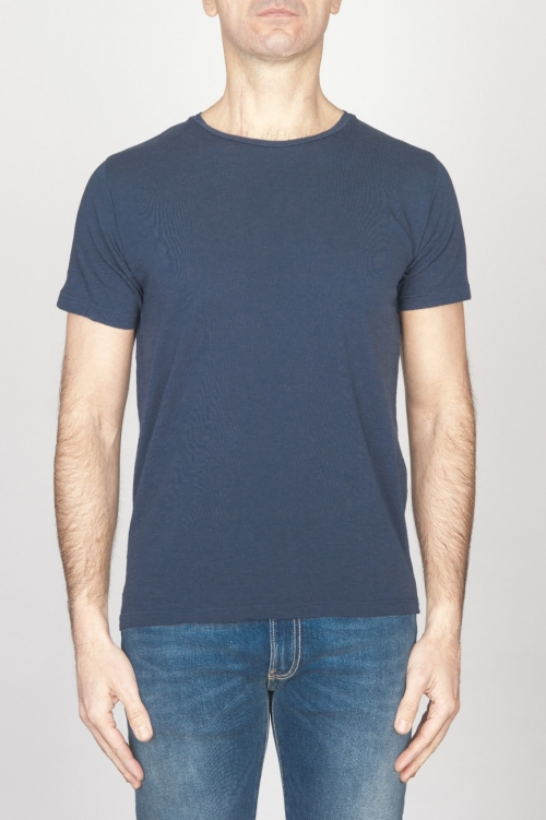 SBU - Strategic Business Unit - 古典的な短い袖のコットンスクープネックTシャツ夜の青