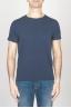 SBU - Strategic Business Unit - T-Shirt Girocollo Aperto A Maniche Corte In Cotone Fiammato Blue Notte