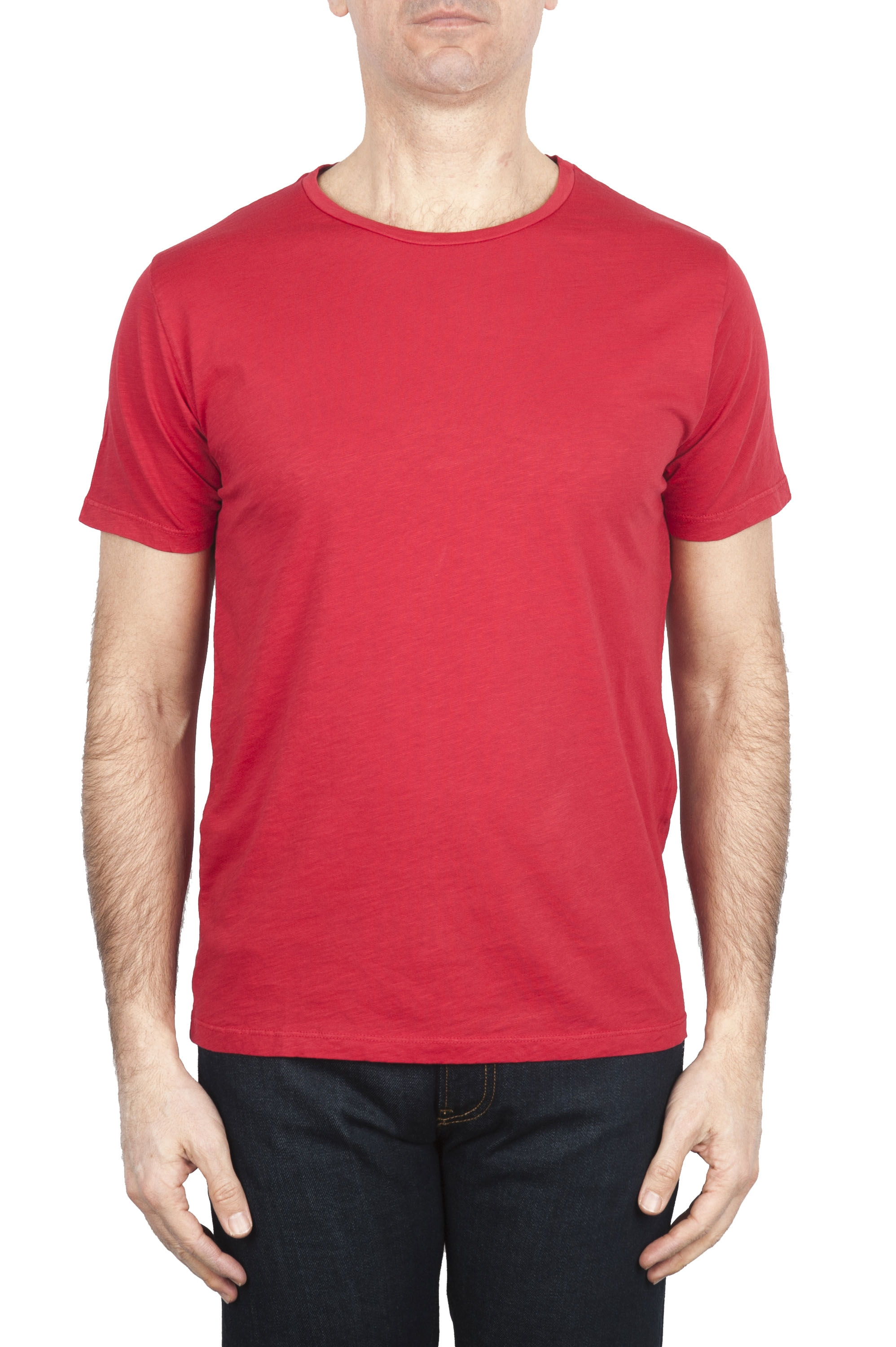 SBU 01647_19AW Flamed cotton scoop neck t-shirt red 01