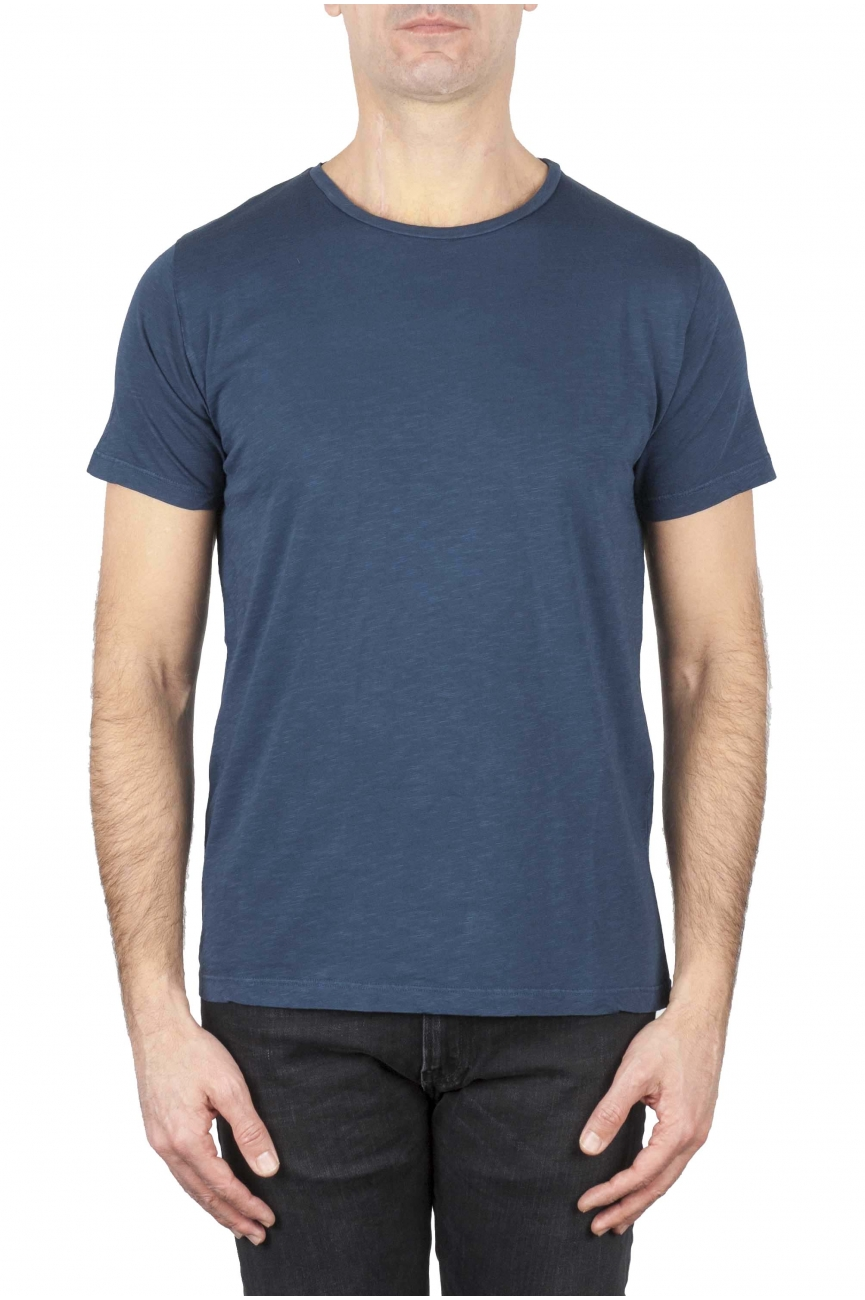 SBU 01648_19AW Flamed cotton scoop neck t-shirt blue 01