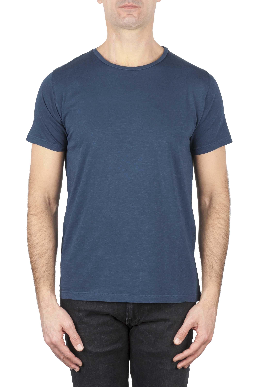 SBU 01648_19AW T-shirt à col rond en coton flammé bleu 01